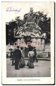 Old Postcard From Paris Statue Strasbourg