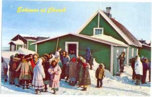 Eskimos at Church of Point Hope, Alaska, AK, pre-zip code Chrome
