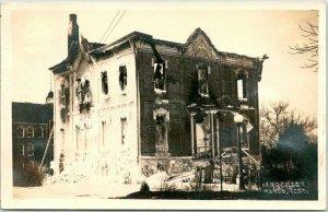 1910s WAHOO, Nebraska RPPC Photo Postcard LUTHER ACADEMY BUILDING Fire Damage