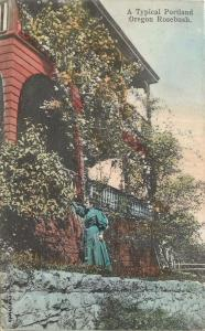 1907 Portland Oregon Woman & Beautiful Rosebush hand colored 5232