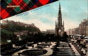 Princes Street Edinburgh Castle West Stewart Clan Tartan vtg postcard