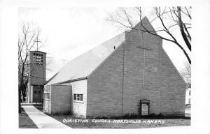 Marysville Kansas~First Christian Church~Cross on Bell Tower~Sign~c1950s RPPC