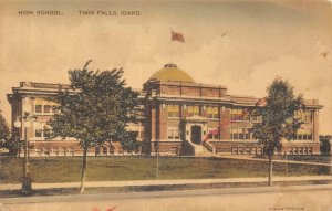 TWIN FALLS, ID High School Idaho Hand-Colored Albertype Co. Postcard ca 1910s