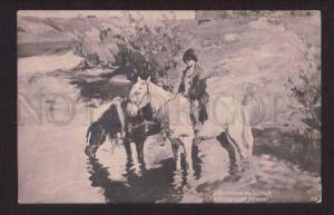 077720 RUSSIAN Type Boy on HORSE by VINOGRADOV vintage PC