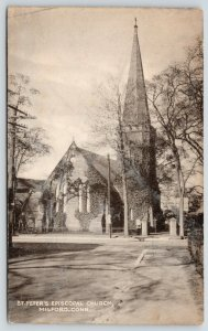 Milford Connecticut~St Peter's Episcopal Church~Ivy Covered Steeple~1940s B&W