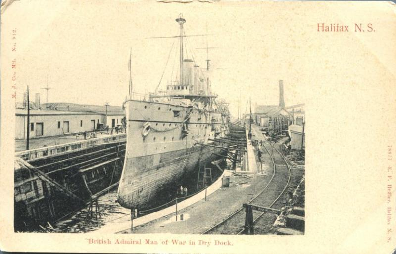 British Admiral Man of War Battleship in Dry Dock Halifax NS Nova Scotia Canada