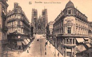 Eglise et rue Sainte Gudule Bruxelles Belgium Unused