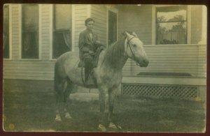 100420 VINTAGE RPPC REAL PHOTO POSTCARD BOY ASTRIDE A PONY HORSE ALEDO IL 1911