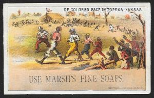 VICTORIAN TRADE CARD Marshs Fine Soap Black Men 'De Colored Race...'