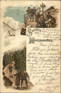 Swiss Mountain Climbing Hiking Tourists Rain Souvenir des Montagnes c1900