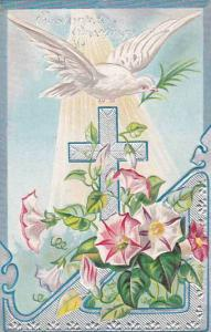 Easter Dove With Cross & Flowers