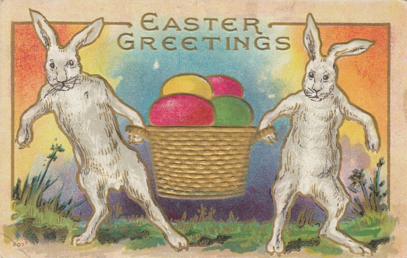 EASTER ; Rabbits carry a basket of Eggs , 1913
