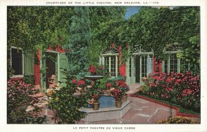 Postcard Courtyard of the Little Theatre New Orleans Louisiana