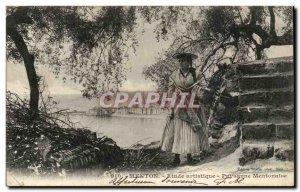 Menton - Study Artistic - Peasant Mentonaise - Old Postcard