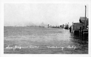 Pittsburg Californina~San Joaquin River Scene~Men on Dock by Association~1940s