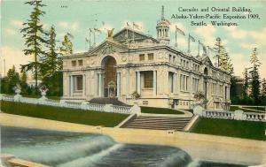 Seattle WA~Water Cascades and Oriental Building~1909 AK-YT-PAC World's Fair