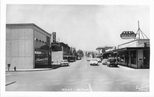 Autos Street Scene Kent Washington Ellis 1940s RPPC Photo Postcard 6626