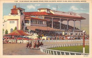 Agua Caliente, Mexico Claiente Jocky Club Horse Racing Postcard Glue on back