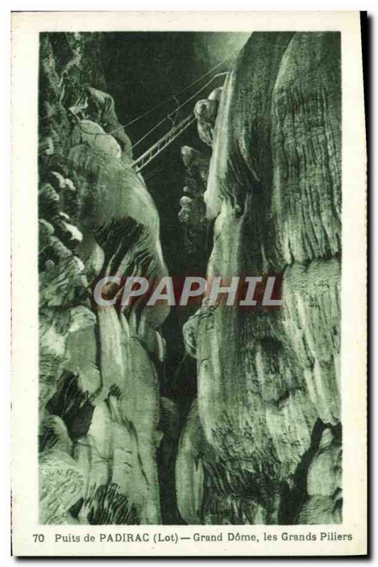 Old Postcard Padirac Puits Great Dome Great Pillars