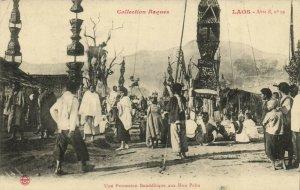 PC CPA LAOS INDOCHINA PROCESSION BOUDDHIQUE HUA PAHN (b22957)