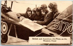 1910s World War I WWI Postcard British & American Air-Pilots on Western Front