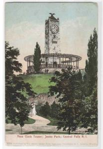 Clock Tower Jenks Park Central Falls Rhode Island 1905c postcard