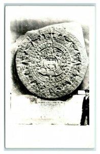 Postcard Calendario Azteca o Piedra Del Sol RPPC Y62