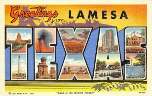 LAMESA, TX Large Letter Linen Texas Greetings c1940s Unused Vintage Postcard