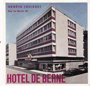 Switzerland Geneve Hotel De Berne Vintage Luggage Label sk4140