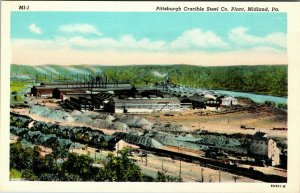 Pittsburgh Crucible Steel Company Plant in Midland PA Postcard PC UNPOSTED