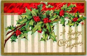 Vintage HAPPY CHRISTMAS Embossed Greetings Postcard Holly Leaves / 1908 Cancel