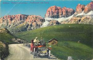 Italy Sudtirol Dolomitenstrasse Dolomiti Pordoijoch mit Sella alte Auto car