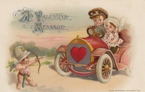 VALENTINE'S DAY ; Couple in car & Cupid , John WINSCH , 1914