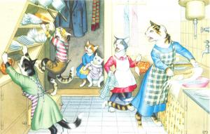 Fantasy Dressed Mainzer Cats~Doing Dishes~Cupboard Tips~Max Kunzli~#4851 Turkey