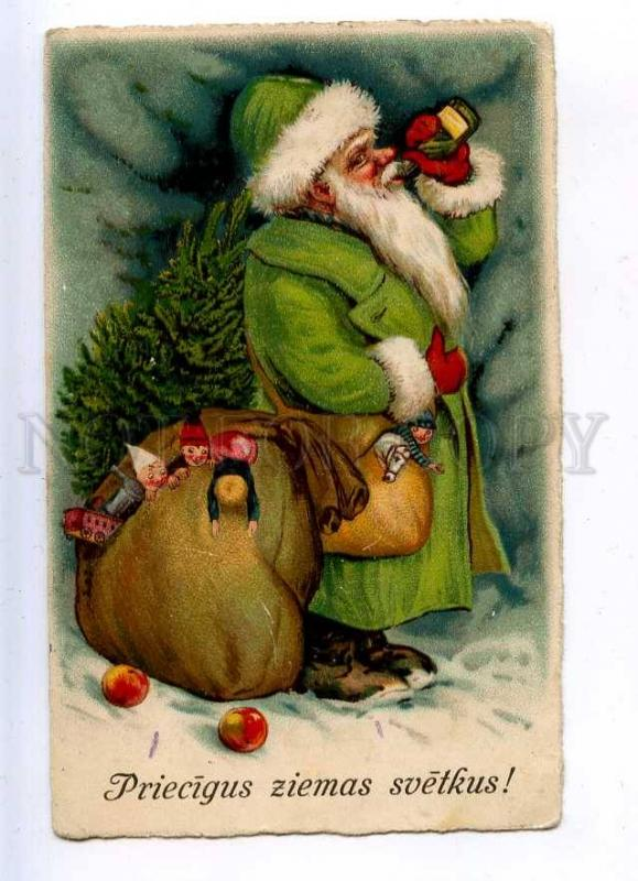 202848 Green-Robed SANTA CLAUS Drunk TOYS Vintage NEW YEAR PC