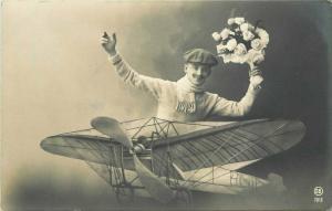 1911 Early Aviation Fantasy man flowers RPPC Photo Postcard 2901