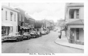 Roaring Spring Pennsylvania Main Street Scene Antique Postcard K99402
