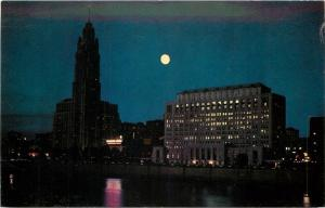 Columbus~Ohio State Office Building~Leveque Lincoln Tower~Full Moon~1957 PC
