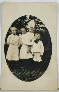 RPPC Children All Dressed Posing For Photo Hagerstown Md Family Est Postcard K2