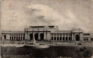 NEW UNION STATION, WASHINGTON,D.C. vintage RPPC postcard - POSTED 1908