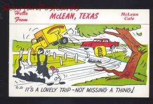 MCLEAN TEXAS ROUTE 66 MCLEAN COW  RESTAURANT COMIC ADVERTISING POSTCARD