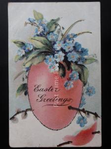 Glittered Embossed EASTER GREETINGS Egg & F.M.K. Old Postcard Max Ettlinger 5138