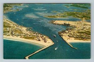 Galilee RI-Rhode Island, Aerial View Of Coastline, Chrome Postcard