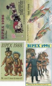 Bipex Policeman WW2 Aircraft Antique Teddy Bear Cats 4x Advertising Postcard s