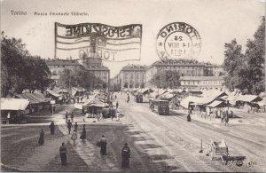 Italy Torino Exposition 1911 Piazza Emanuele Filiberto Postcard E83