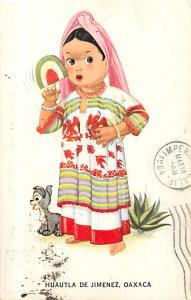 Huautla De Jimenez Oaxaco Cute Little Girl & Pup, Artist 1964 PC