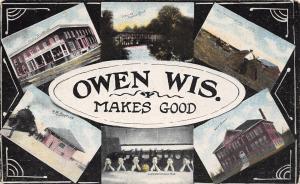 Owen Wisconsin~Makes Good~Multi Mini~Girls BB Team~RR Depot~Hotel Woodland~1912