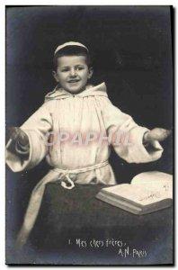 Old Postcard Fun Children Monk