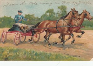 Two horse pulled racing-cart with Jockey, 1905