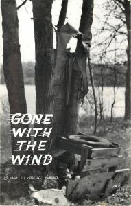 Open Outhouse~Seat Left on Frame~Gone With the Wind~1940 LL Cook~RPPC
